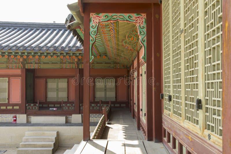 Architectuurdecoratie van Gyeongbok-Paleis Seoel, Zuid-Korea royalty-vrije stock foto's