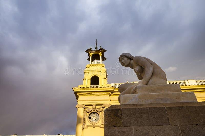 Architectuurdetail in Montjuic Barcelona royalty-vrije stock afbeeldingen