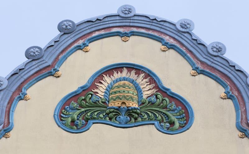 Architectuurdetail in Subotica, Servië stock afbeeldingen