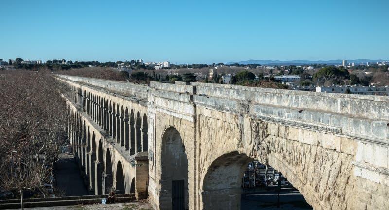 Architectuurdetail van heilige-Mild aquaduct in Montpellier, Frankrijk royalty-vrije stock afbeeldingen