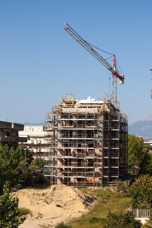 Architectuurmening, Bouwconstructieplaats met Kraan royalty-vrije stock foto