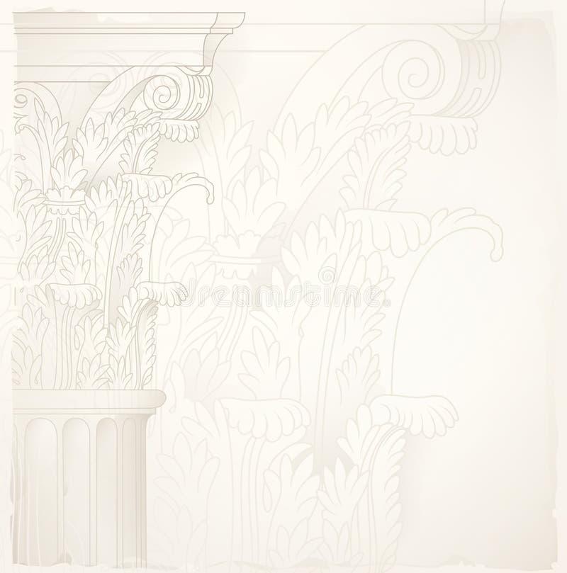 Architectuurontwerpachtergrond, Corinthische kolom royalty-vrije illustratie