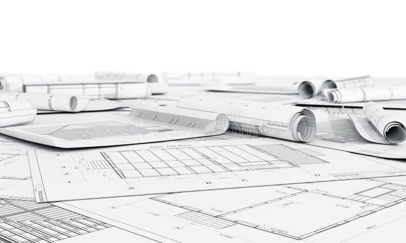 Architectuurplan en broodjes van blauwdrukken stock foto