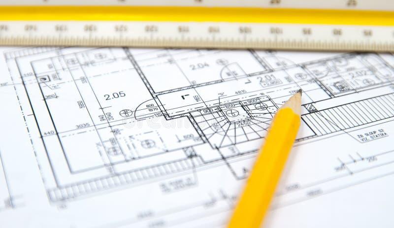 Architectuurplannen van de wat bouw stock foto's