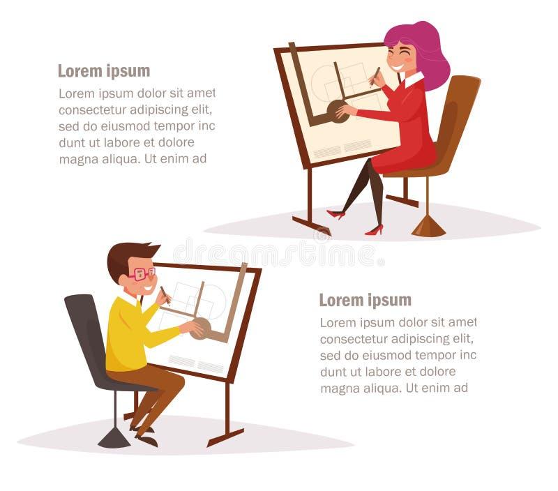 Architekci przy rysownicami ilustracji