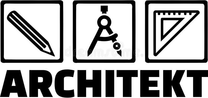Architektów narzędzi okręgu Ołówkowa władca ilustracja wektor