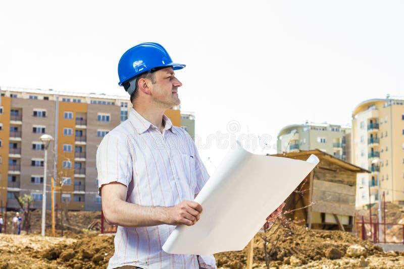 Architekt auf Baustelle stockbilder