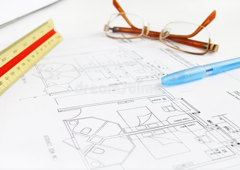 Architekt Budynku Hotel Plan Obrazy Stock
