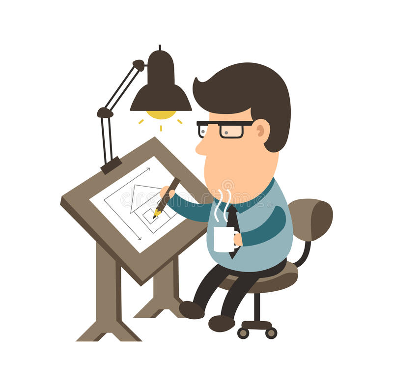 Architekt, der an Schreibtisch arbeitet Bringen Sie Projekt unter Illustrations-Charakterdesign des Zeichners flaches stock abbildung