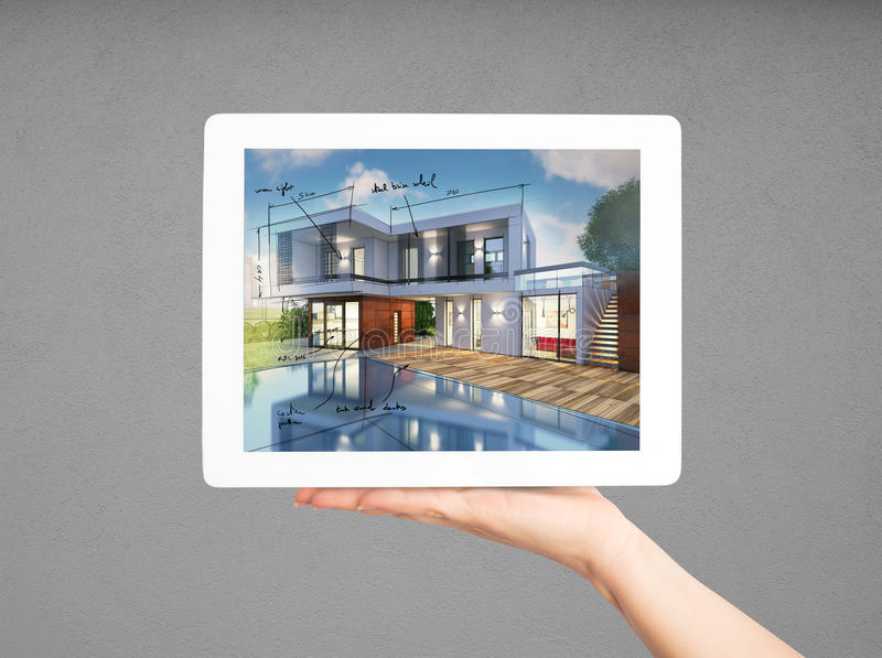 Architekt der Wiedergabe-3D, der Projekt des neuen Hauses mit Tablette zeigt stockfotografie