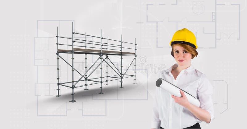 Architekt kobiety besaide 3D rusztowanie z projekta tłem ilustracja wektor