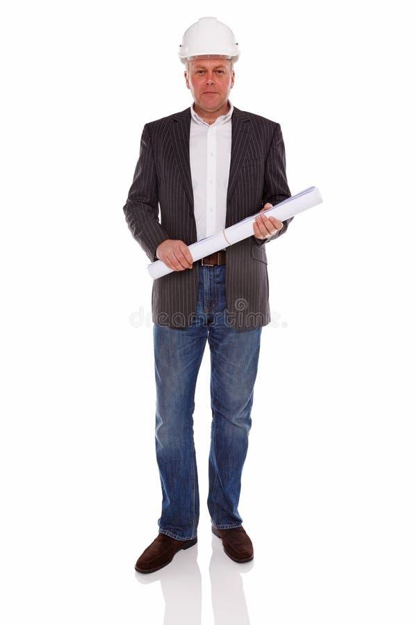 Architekt oder Feldmesser, die einen Schutzhelm tragen stockbilder