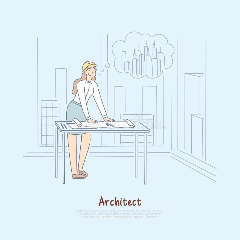 Architekt wyobraża sobie nowego projekt, żeński inżynier marzy o budować drapacz chmur w miasto sztandarze ilustracja wektor