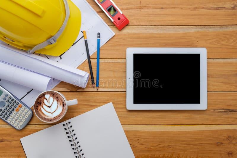 Architekta biurka projekt w budowie fotografia royalty free