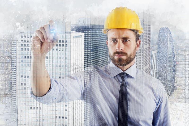Architekta biznesmen rysuje nakre?lenie nowo?ytny dom zdjęcie stock