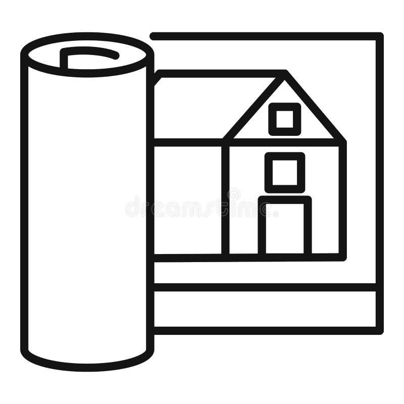 Architekta domu projekta ikona, konturu styl ilustracji