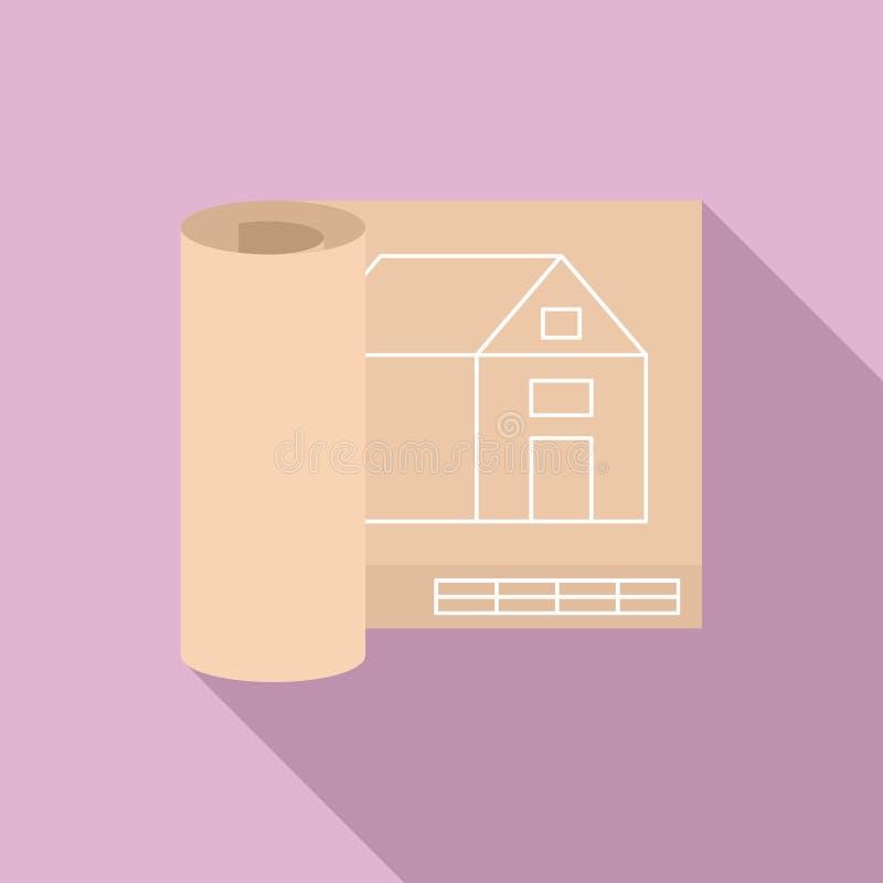 Architekta domu projekta ikona, mieszkanie styl ilustracji
