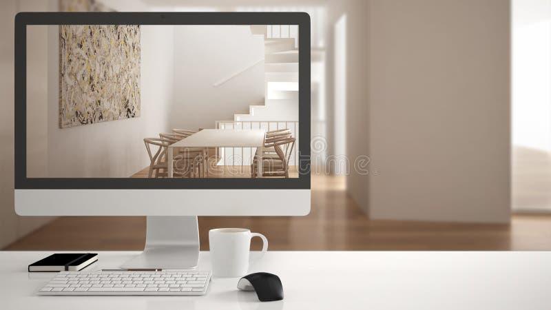 Architekta domu projekta pojęcie, komputer stacjonarny na białym pracy biurku pokazuje łomotający stół i schodki, minimalistic za zdjęcia stock