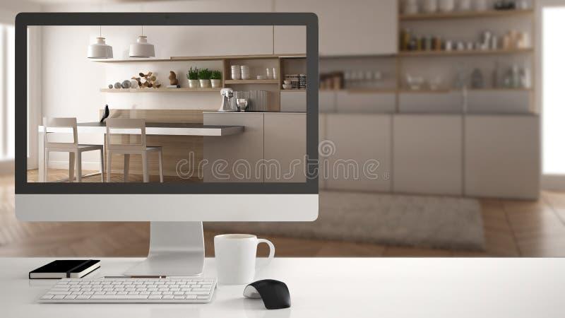 Architekta domu projekta pojęcie, komputer stacjonarny na białym pracy biurku pokazuje białą drewnianą kuchnię, minimalistic zama obraz stock