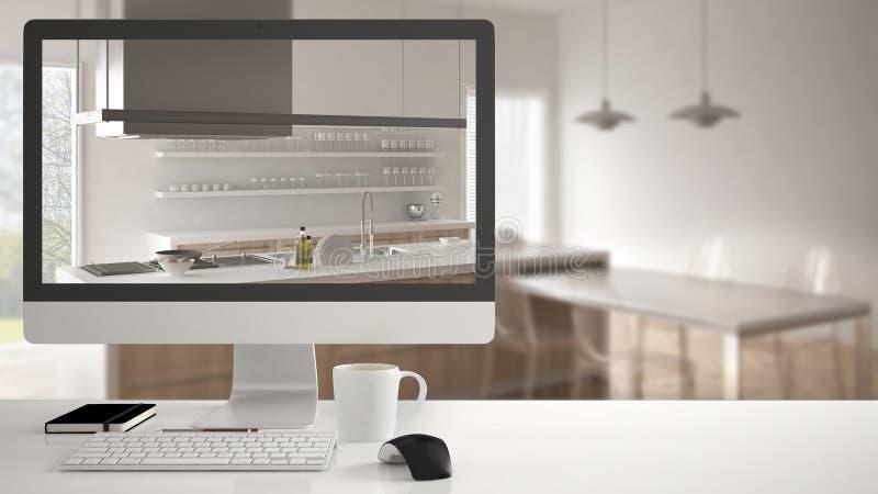 Architekta domu projekta pojęcie, komputer stacjonarny na białym pracy biurku pokazuje białą drewnianą kuchnię, minimalistic zama obrazy royalty free