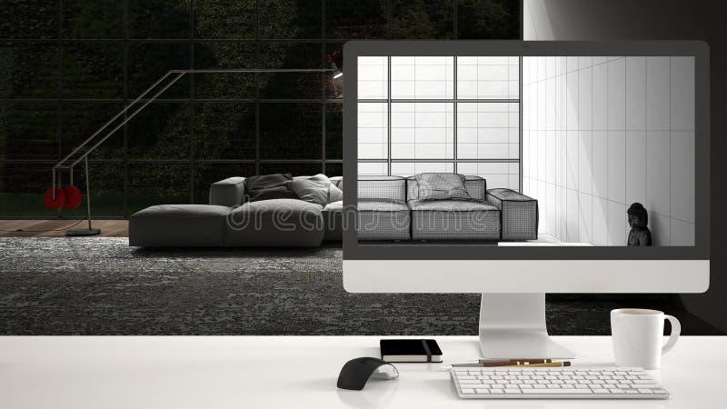 Architekta domu projekta pojęcie, komputer stacjonarny na białym pracy biurku pokazuje chama nakreślenie, minimalistic żywy izbow obrazy stock