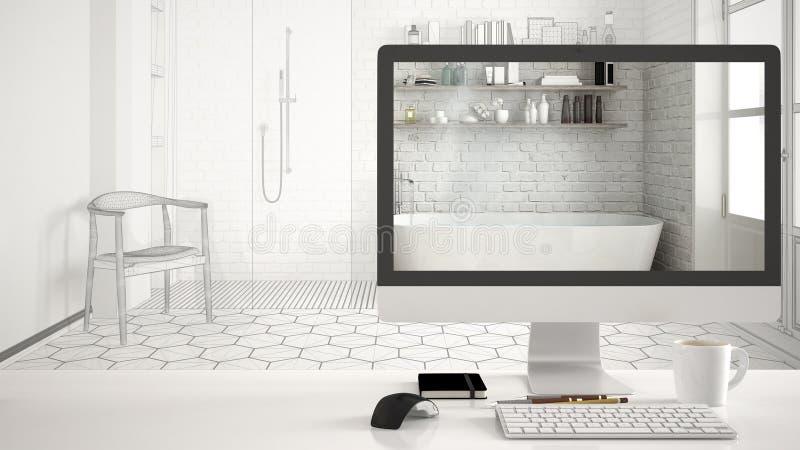 Architekta domu projekta pojęcie, komputer stacjonarny na białym pracy biurku pokazuje klasyczną łazienkę, chama nakreślenia wewn zdjęcia royalty free