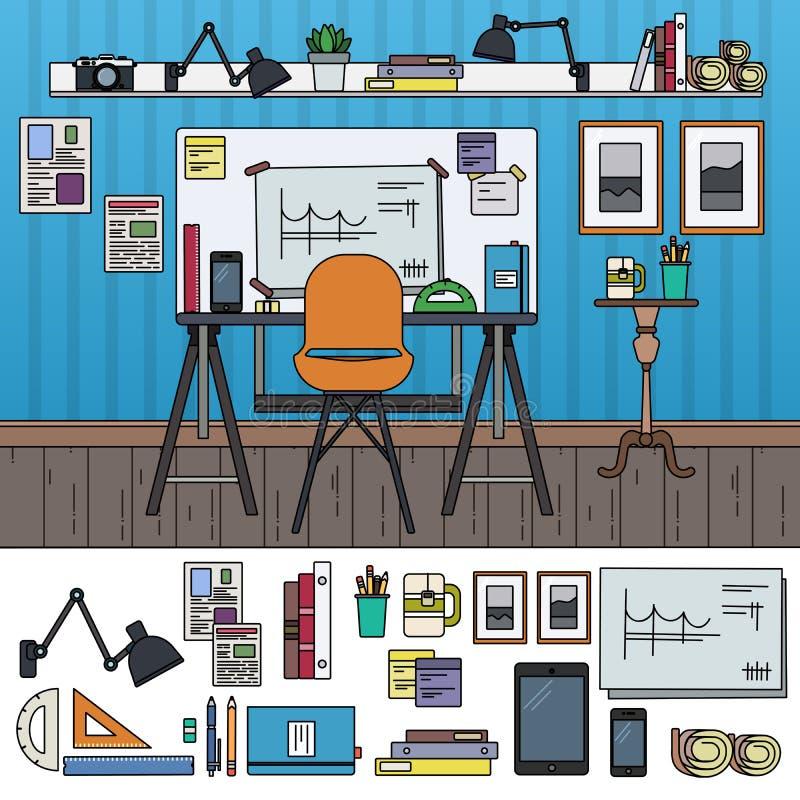 Architekta pracujący miejsce ilustracja wektor