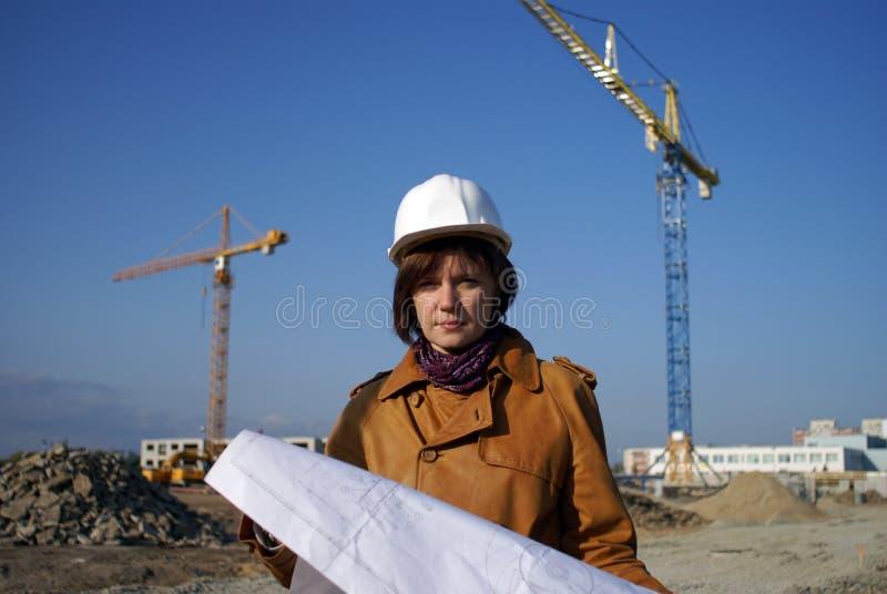 architekta projektów żurawi ładna kobieta zdjęcie stock