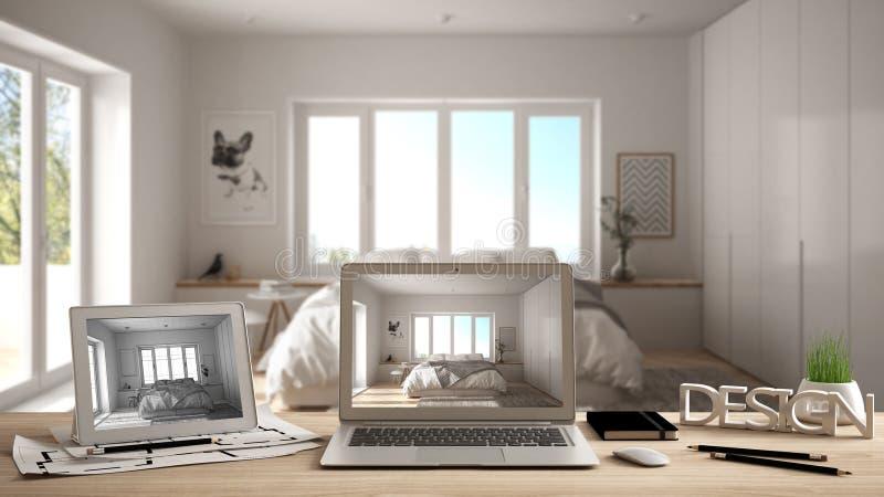 Architekta projektanta desktop pojęcie, laptop i pastylka na drewnianym pracy biurku z ekranem pokazuje, wewnętrznego projekta pr ilustracji