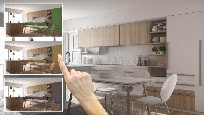 Architekta projektanta pojęcie, ręka pokazuje kuchnię barwi różne opcje, wewnętrznego projekta projekta szkic, koloru zbieracz, m zdjęcie stock