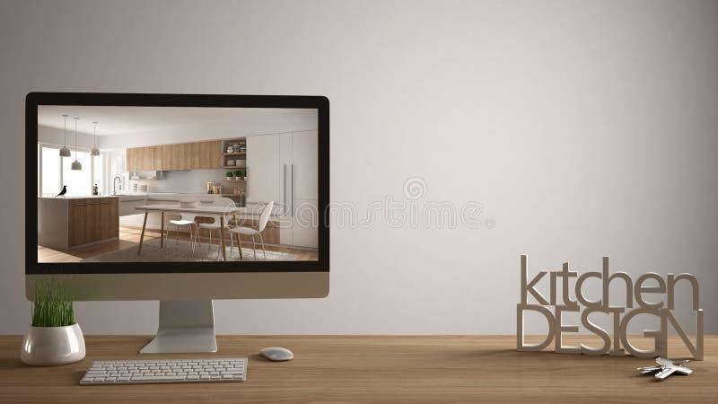 Architekta projektanta projekta pojęcie, drewniany stół z domów kluczami, 3D pisze list robić słowom kuchennemu projektowi, kompu ilustracji