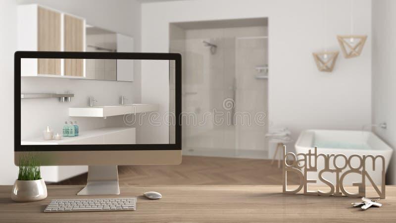 Architekta projektanta projekta pojęcie, drewniany stół z kluczami, 3D listy robi słowo łazience i desktop seansu szkicowi projek obraz stock