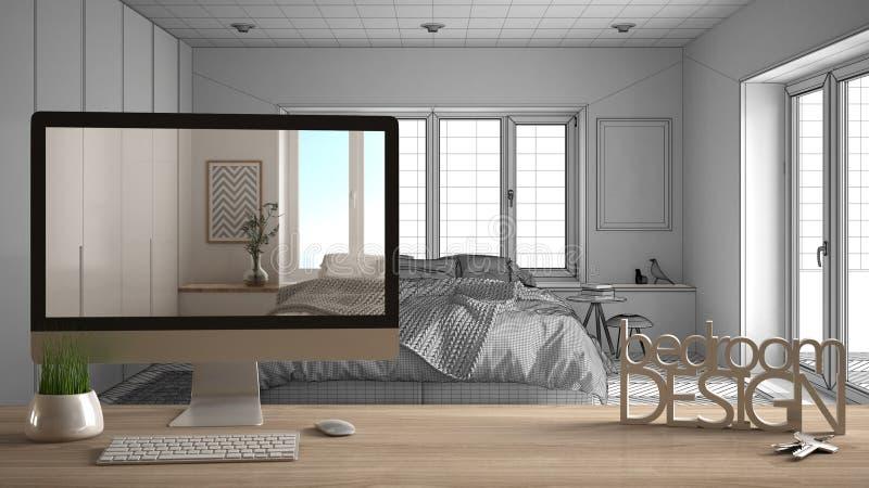Architekta projektanta projekta pojęcie, drewniany stół z kluczy, 3D listów i desktop seansu szkic słów sypialni projektem, proje zdjęcie royalty free