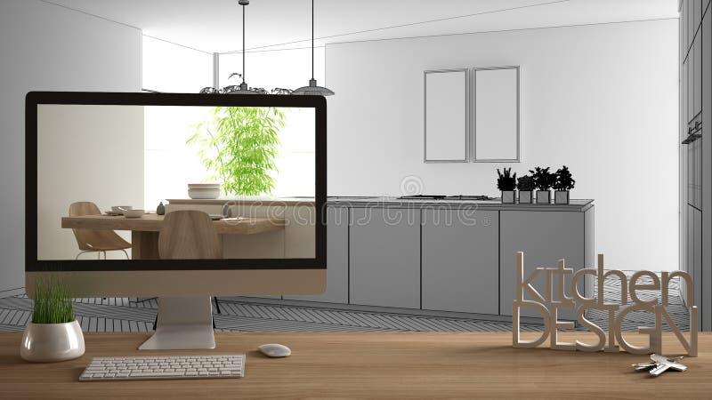 Architekta projektanta projekta poj?cie, drewniany st?? z domu kluczy, 3D list?w i desktop seansu szkic s??w kuchennym projektem, ilustracja wektor