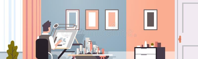 Architekta rysunkowego projekta budynku miastowy plan na nastawczego deskowego panning projekta pojęcia inżyniera siedzącej miejs royalty ilustracja