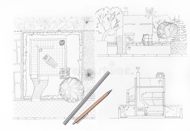 Architekta rysunku ogród i dom fotografia royalty free