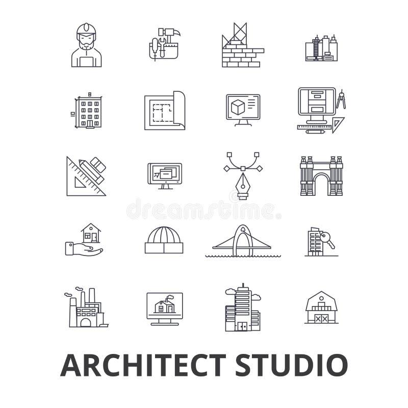 Architekta studia powiązane ikony royalty ilustracja