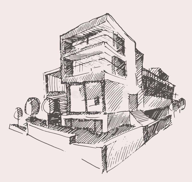 Architekta szkicu nowego domu budynku nowożytny pojęcie ilustracja wektor