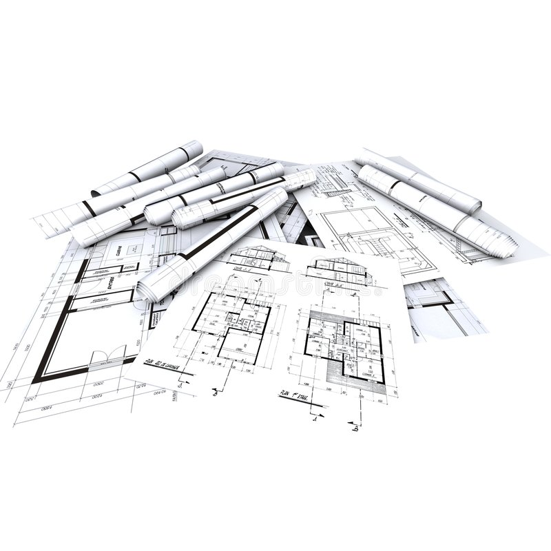 Architekten-Lichtpausen, stock abbildung