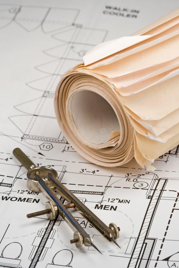 Architekten-Zeichnungen stockfoto