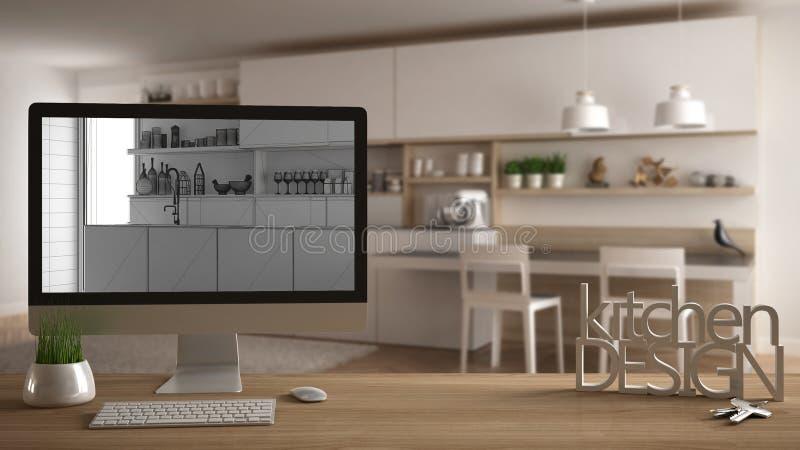 Architektendesigner-Projektkonzept, Holztisch mit Hausschlüsseln, Buchstabeküchendesign und das Tischplattendarstellen entwerfen  lizenzfreies stockbild
