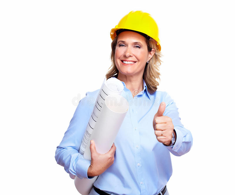 Architektenfrau mit einem Plan. stockfoto