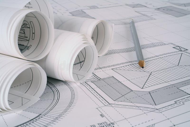 Architektenpläne lizenzfreies stockbild