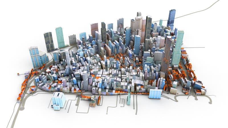 Architektoniczna 3D modela ilustracja ogromne miasto na białym b royalty ilustracja