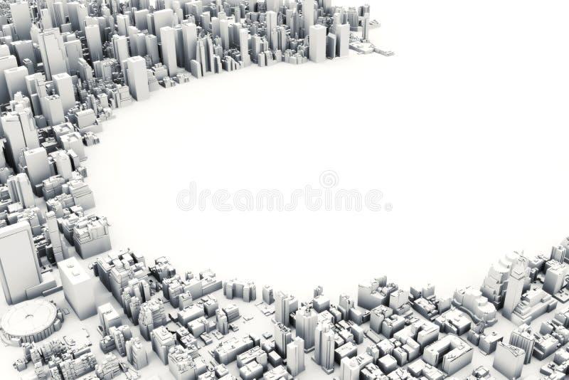 Architektoniczna 3D modela ilustracja ogromne miasto na białym tle royalty ilustracja