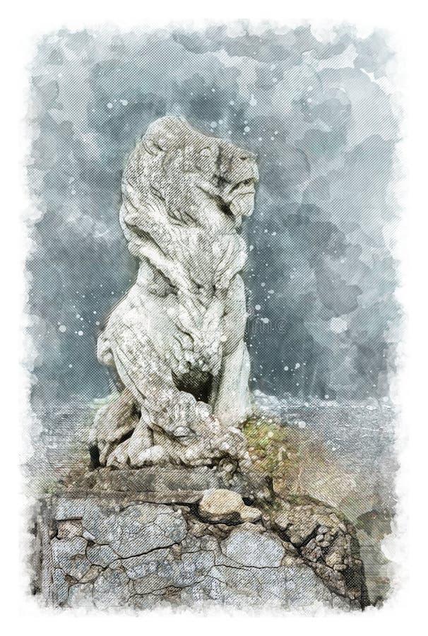 Architektoniczna nakreślenie rzeźba lew w starej szlachetnej rezydenci ziemskiej obrazy royalty free