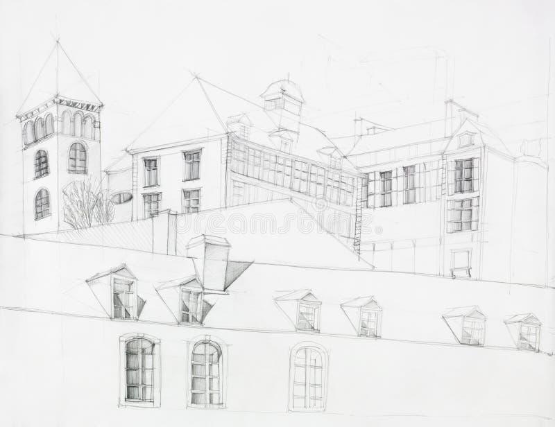 Architektoniczna perspektywa stary dwór zdjęcia stock
