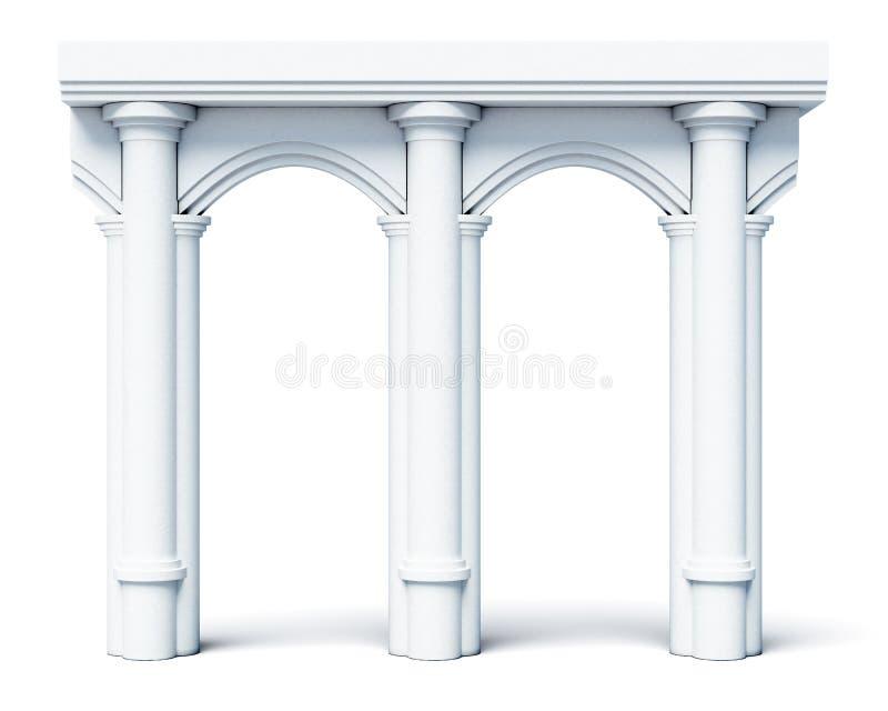 Architektoniczne przedmiot kolumny wysklepiają na białym tle świadczenia 3 d ilustracja wektor
