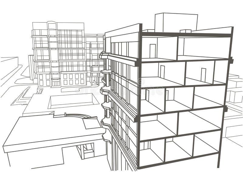 Architektonicznego liniowego nakreślenia multistory budynek mieszkaniowy ilustracji