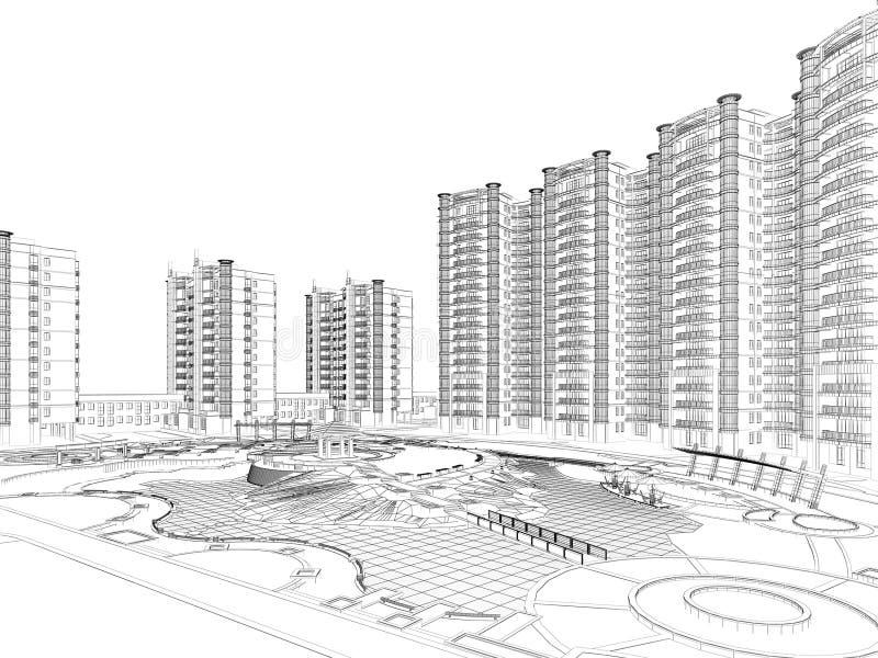 architektonicznego planu wireframe ilustracja wektor